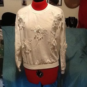 White sweatshirt top with Bling